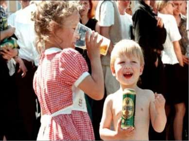 При систематическом поступлении алкоголя в детский организм страдает не тольк...