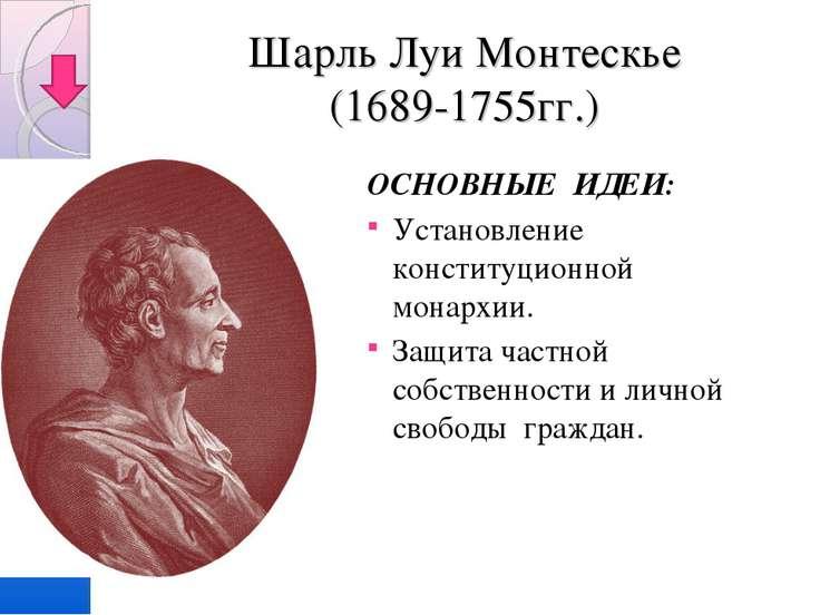 Шарль Луи Монтескье (1689-1755гг.) ОСНОВНЫЕ ИДЕИ: Установление конституционно...