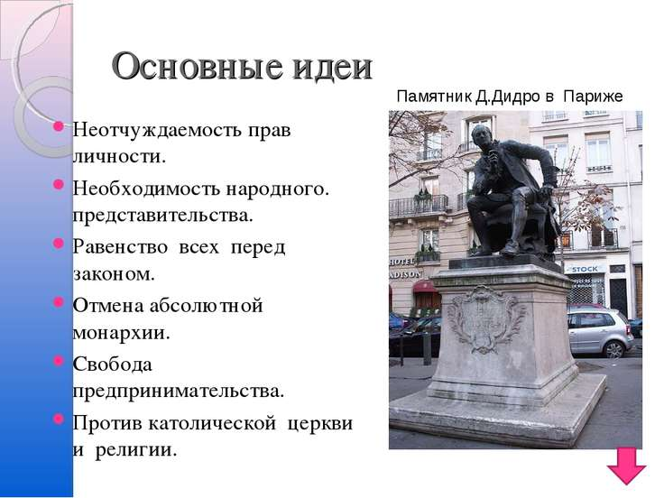 Основные идеи Неотчуждаемость прав личности. Необходимость народного. предста...