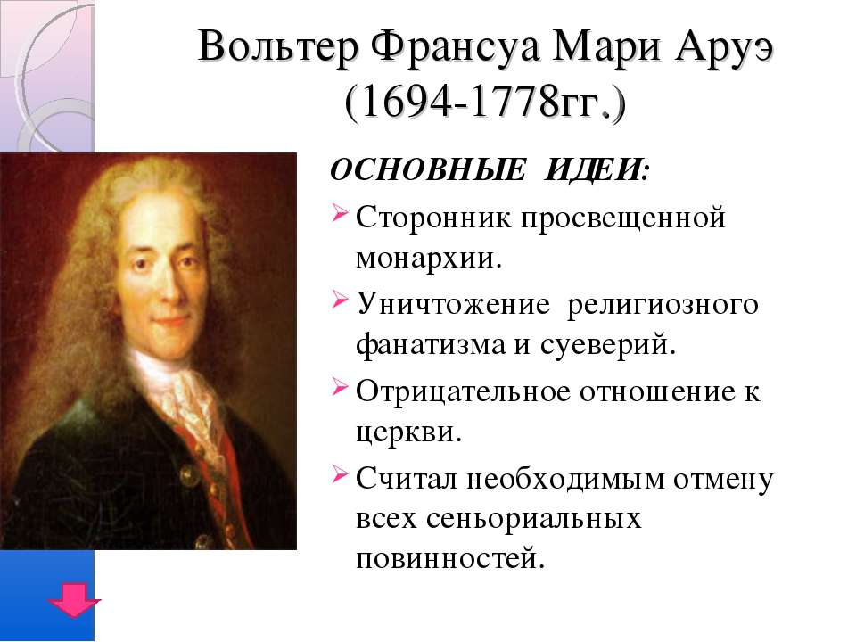 Вольтер Франсуа Мари Аруэ (1694-1778гг.) ОСНОВНЫЕ ИДЕИ: Сторонник просвещенно...