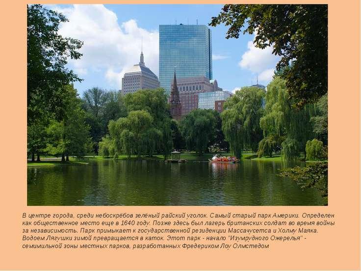 В центре города, среди небоскрёбов зелёный райский уголок. Самый старый парк ...