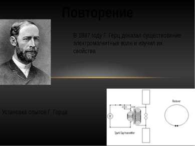 Повторение В 1887 году Г. Герц доказал существование электромагнитных волн и ...