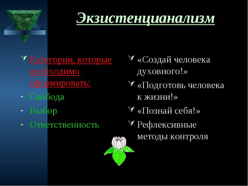 Экзистенцианализм Категории, которые необходимо сформировать: Свобода Выбор О...
