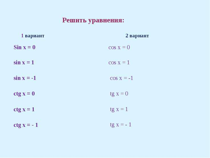 Решить уравнения: 1 вариант 2 вариант Sin x = 0 sin x = 1 sin x = -1 ctgx = 0...
