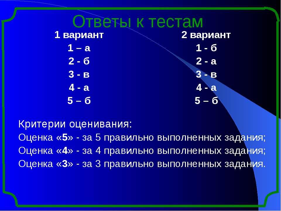 Ответы к тестам 1 вариант 1 – а 2- б 3-в 4- а 5– б 2 вариант 1-б 2- а 3-в 4-а...