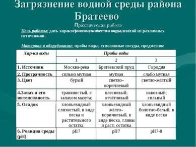Загрязнение водной среды района Братеево Практическая работа «Анализ качества...