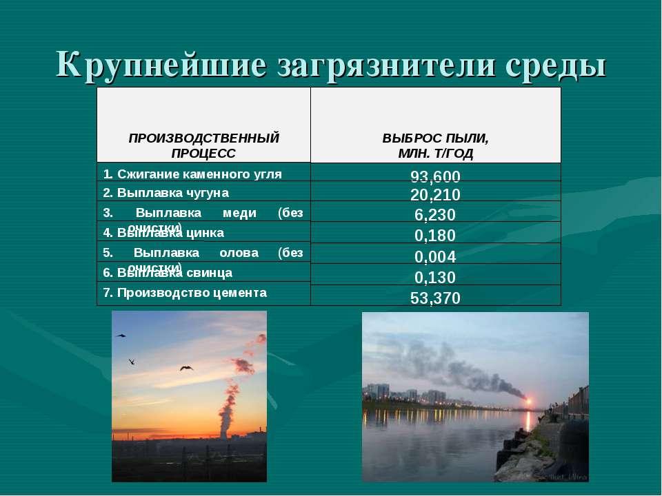 Крупнейшие загрязнители среды