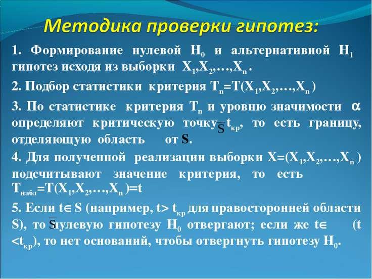 1. Формирование нулевой Н0 и альтернативной Н1 гипотез исходя из выборки X1,X...