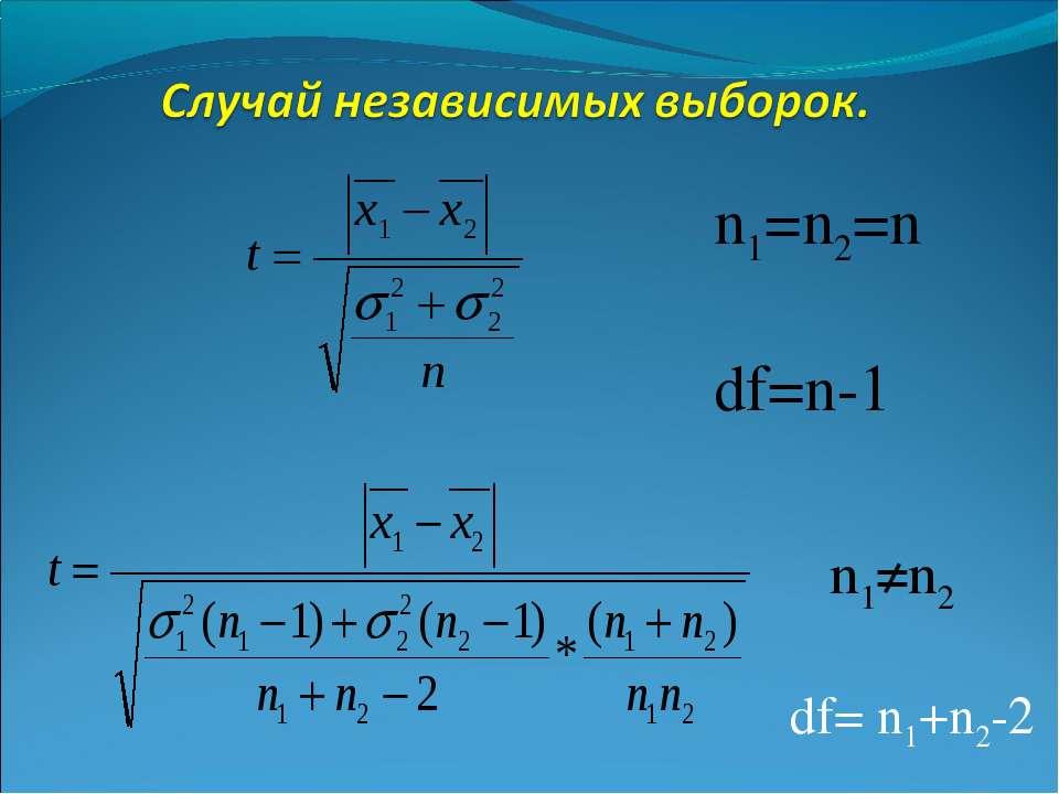 df= n1+n2-2 n1=n2=n df=n-1 n1≠n2