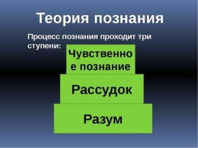 Теория познания Процесс познания проходит три ступени: Чувственное познание Р...