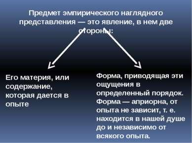 Предмет эмпирического наглядного представления — это явление, в нем две сторо...