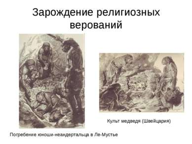 Зарождение религиозных верований Культ медведя (Швейцария) Погребение юноши-н...