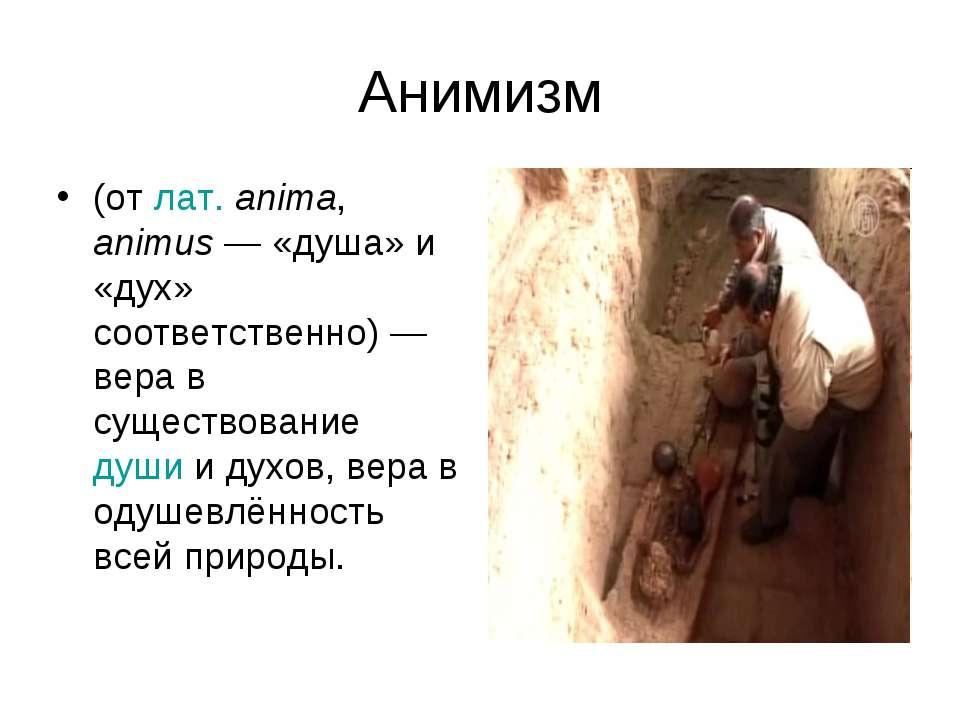 Анимизм (от лат.anima, animus— «душа» и «дух» соответственно)— вера в суще...
