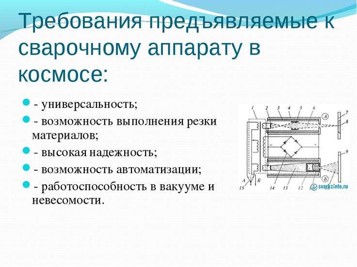 Требования предъявляемые к сварочному аппарату в космосе: - универсальность; ...