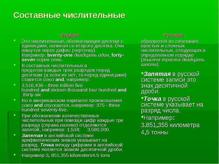 Составные числительные English Это числительные, обозначающие десятки с едини...