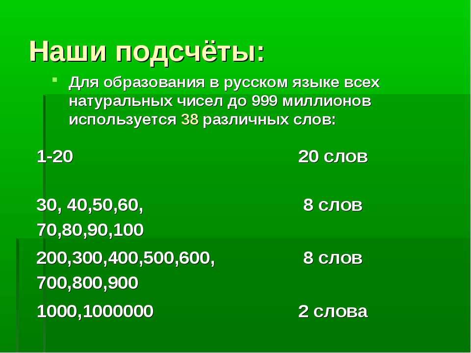 Наши подсчёты: Для образования в русском языке всех натуральных чисел до 999 ...