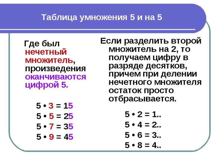 Таблица умножения 5 и на 5 Где был нечетный множитель, произведения оканчиваю...