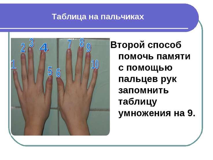 Таблица на пальчиках Второй способ помочь памяти с помощью пальцев рук запомн...