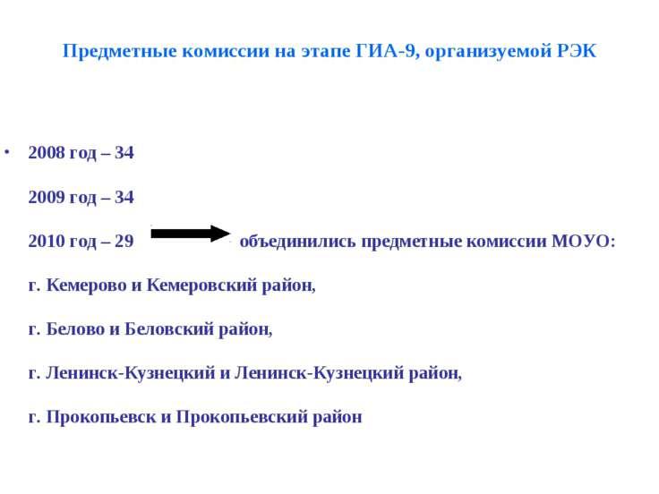 Предметные комиссии на этапе ГИА-9, организуемой РЭК 2008 год – 34 2009 год –...