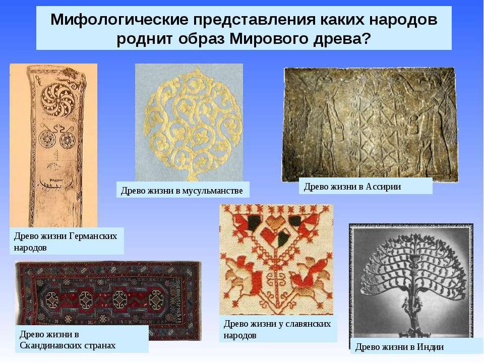 Мифологические представления каких народов роднит образ Мирового древа? Древо...