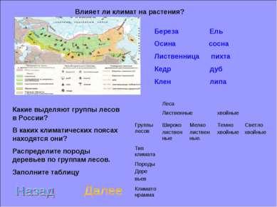 Влияет ли климат на растения? Какие выделяют группы лесов в России? В каких к...