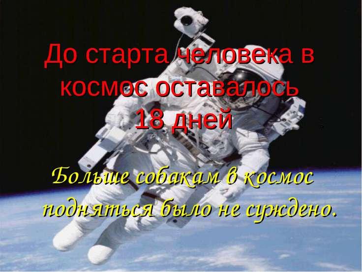 До старта человека в космос оставалось 18 дней Больше собакам в космос поднят...
