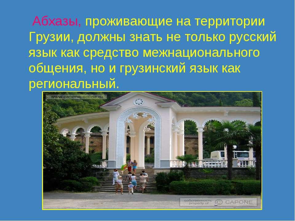 Абхазы, проживающие на территории Грузии, должны знать не только русский язык...