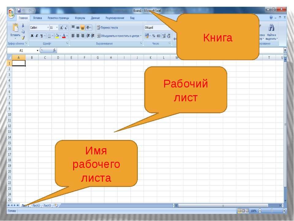 Рабочие листы и книги При работе на компьютере электронная таблица существует...