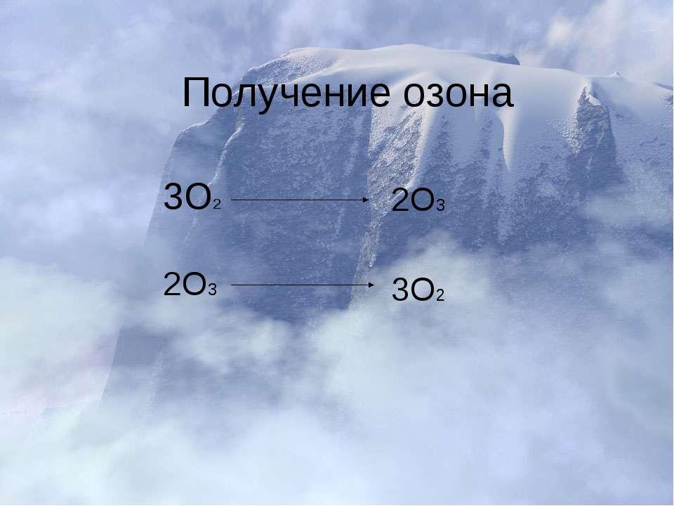 Получение озона 3О2 2О3 2О3 3О2