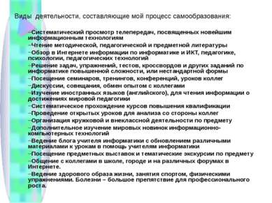 Виды деятельности, составляющие мой процесс самообразования: Систематический ...