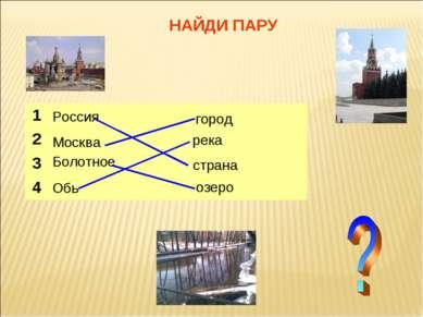 НАЙДИ ПАРУ Россия Москва Обь город страна озеро река 1 2 3 Болотное 4
