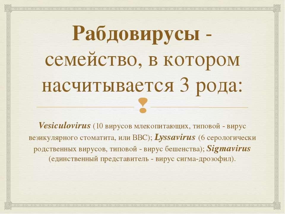 Рабдовирусы- семейство, в котором насчитывается 3 рода: Vesiculovirus (10 ви...