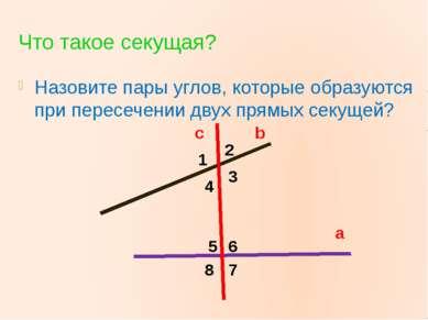 Что такое секущая? Назовите пары углов, которые образуются при пересечении дв...