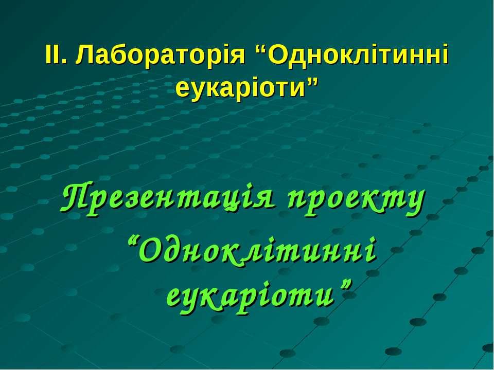"""ІІ. Лабораторія """"Одноклітинні еукаріоти"""" Презентація проекту """"Одноклітинні еу..."""