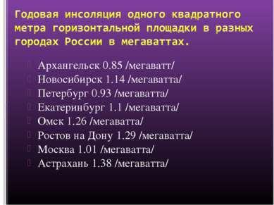 Архангельск 0.85 /мегаватт/ Новосибирск 1.14 /мегаватта/ Петербург 0.93 /мега...