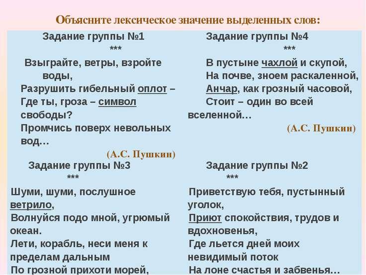 Объясните лексическое значение выделенных слов: Задание группы№1 *** Взыграйт...