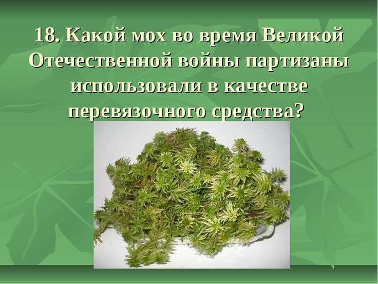 18. Какой мох во время Великой Отечественной войны партизаны использовали в к...