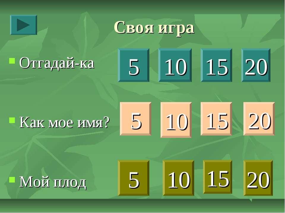 Своя игра Отгадай-ка Как мое имя? Мой плод 5 10 15 20 5 10 15 20 5 10 15 20