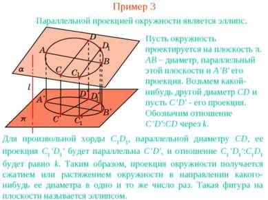 Пример 3 Параллельной проекцией окружности является эллипс. Для произвольной ...