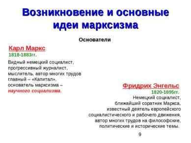 Возникновение и основные идеи марксизма Основатели Карл Маркс 1818-1883гг. Ви...