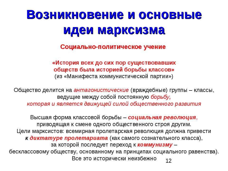 Возникновение и основные идеи марксизма Социально-политическое учение «Истори...