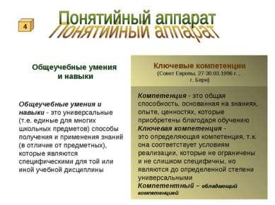 Общеучебные умения и навыки Ключевые компетенции (Совет Европы, 27-30.03.1996...