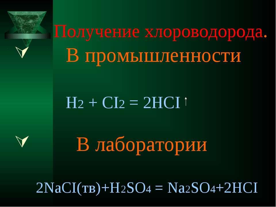 Получение хлороводорода. В промышленности H2 + CI2 = 2HCI В лаборатории 2NaCI...