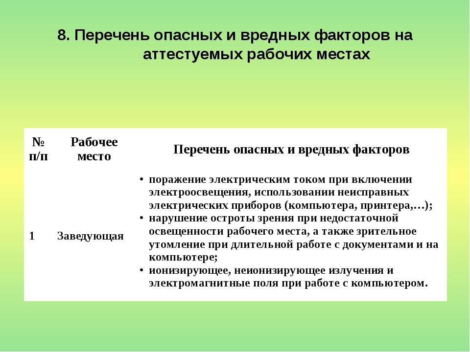 8. Перечень опасных и вредных факторов на аттестуемых рабочих местах