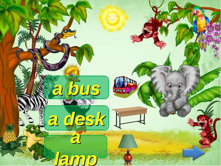 a bus a lamp a desk