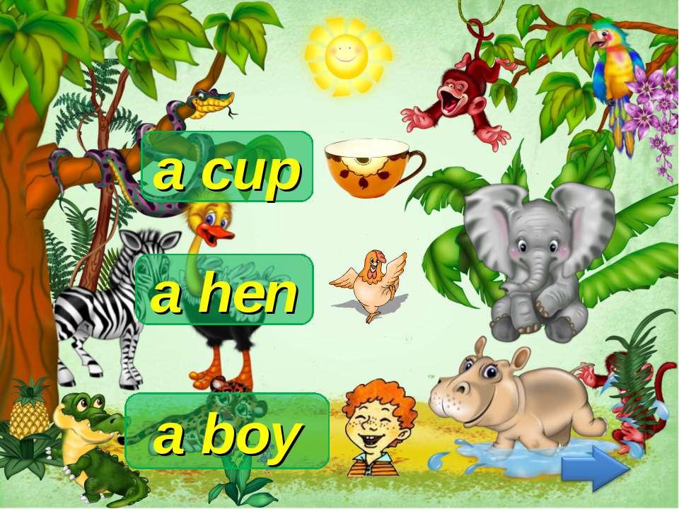 a cup a hen a boy