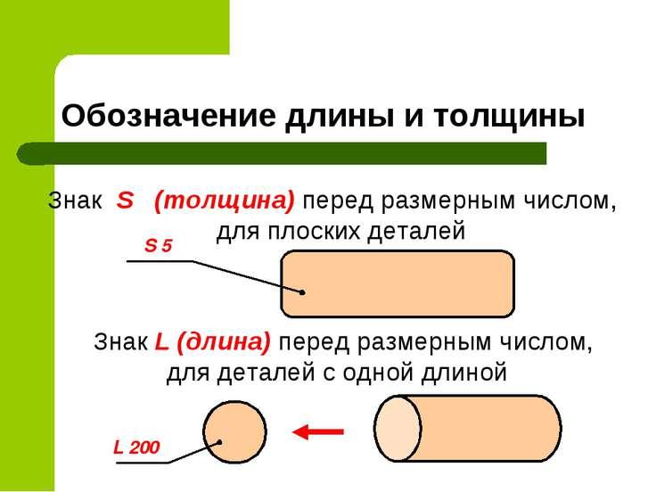 Обозначение длины и толщины Знак S (толщина) перед размерным числом, для плос...