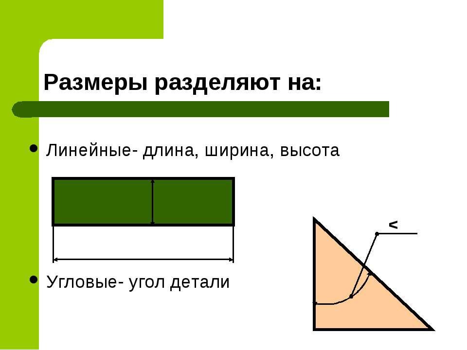 Размеры разделяют на: Линейные- длина, ширина, высота Угловые- угол детали