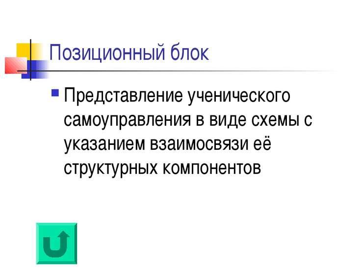 Позиционный блок Представление ученического самоуправления в виде схемы с ука...