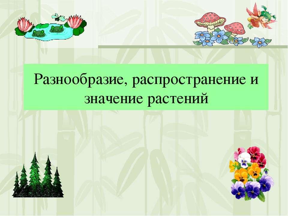 Разнообразие, распространение и значение растений